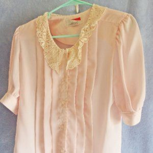 Retro 1960's Delicate Pink Polyester Blouse Lacy